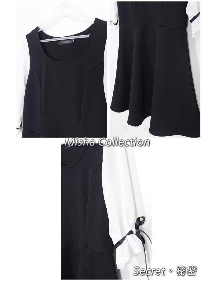 黑白復古雪紡針織泡泡五分袖拼接公主收腰蕾絲連衣短裙