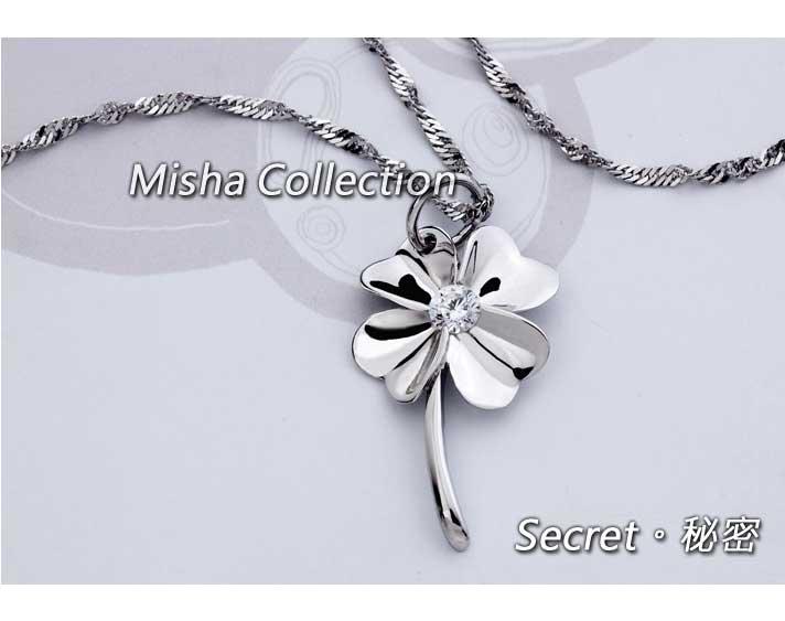 韓版 925銀 幸運四葉草鍍白金鑲水鑽項鍊鎖骨鏈飾品
