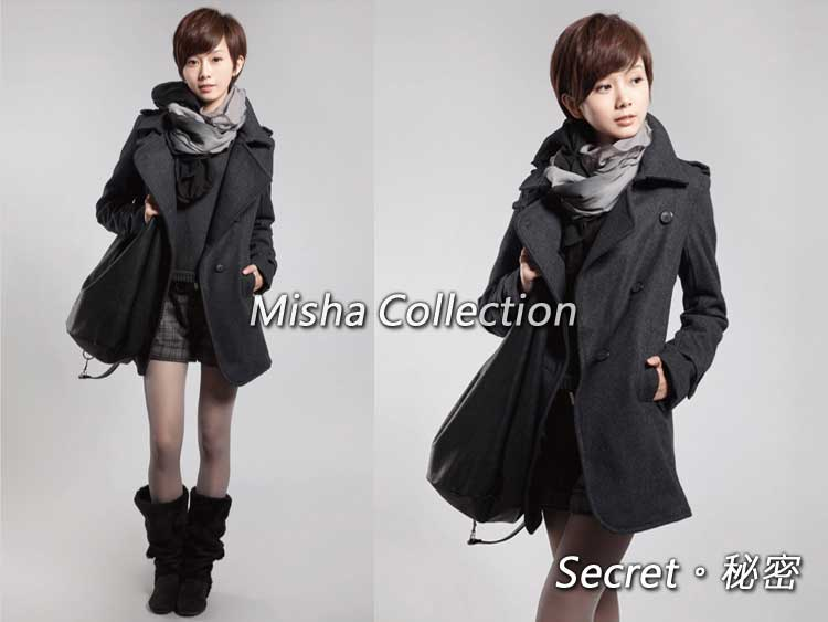 韓版中長款修身羊毛呢開領長大衣外套 有大碼