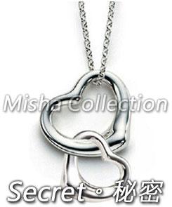 韓版925銀 雙心型鍍白金項鍊鎖骨鏈飾品