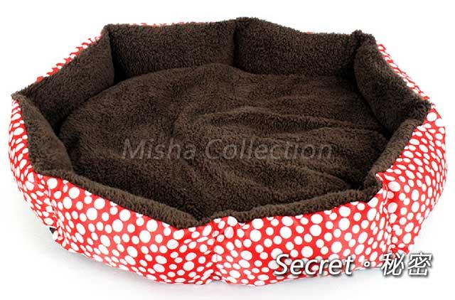 【PET VIVA】寵物八角圓點絨棉軟狗窩床 貓兔兔子豬鼠竉物可用