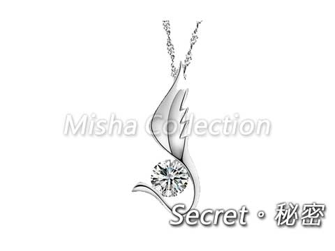 韓版925銀 翅膀鑲水鑽項鍊 情人節飾品禮物贈品