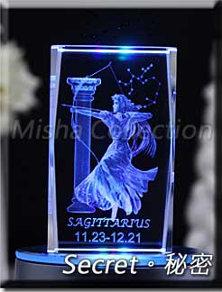 水晶長方體雷射內雕 刻字製作訂制+MP3七彩LED旋轉燈座 生日結婚情人聖誕節創意DIY禮物 - 星座