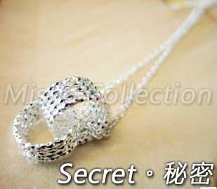 韓版925銀 雙扣銀環圈圈住你項鍊 情人節飾品禮物贈品