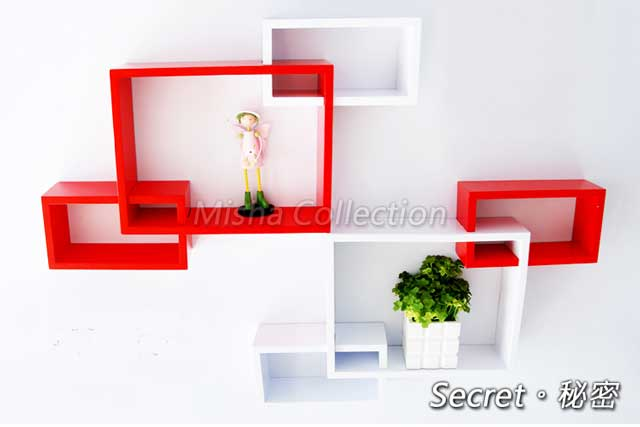 創意格子置物裝飾架 壁掛電視牆上掛吊櫃 烤漆隔板