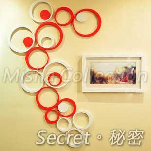 波爾卡浮雕圓環立體牆貼 卧室客廳浴室廚房裝飾牆貼