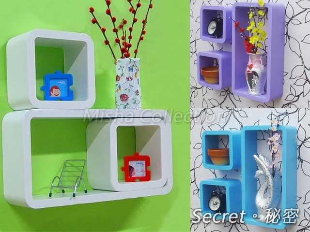 創意格子品字格置物裝飾架 壁掛電視牆上掛吊櫃 彩色糖果波西米亞風隔板