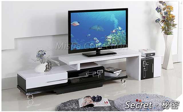 現代簡約抽象風伸縮收納烤漆鏡面強化玻璃組合電視櫃