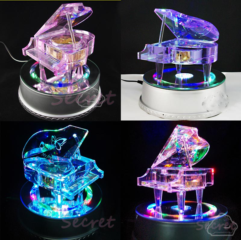 中號日本SANKYO機芯水晶鋼琴八音樂盒 180mm七彩旋轉發光燈底座 生日結婚情人節聖誕禮物品 手工個性化訂製做可印相照片刻字及選歌