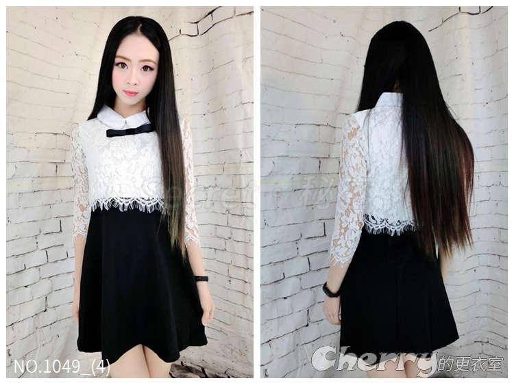 韓國甜美小清新黑白拼接蝴蝶結修身A字裙蕾絲連身裙