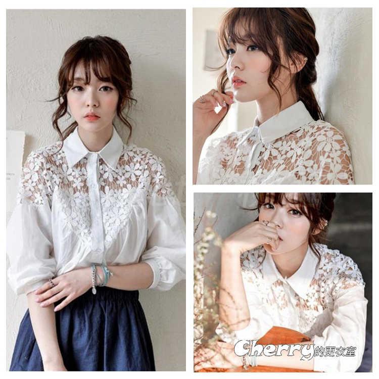 韓版七分袖花邊拼接鏤空蕾絲花朵鈎花上衣襯衫