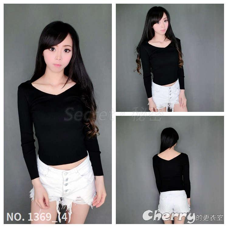 韓版V領素色七分袖長袖薄款針織衫打底衫