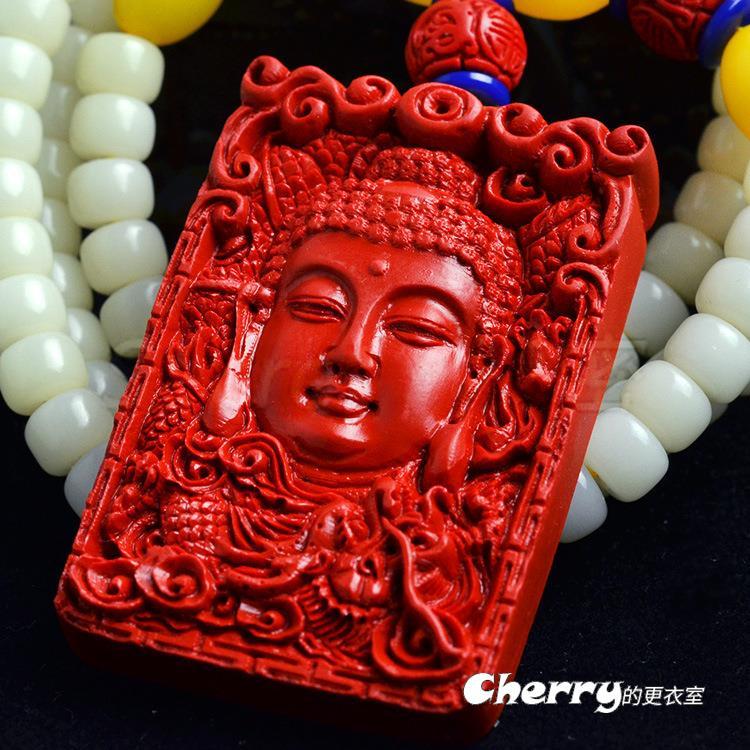硃砂吊墜白菩提鏈菩提根毛衣鏈項鍊-如來佛祖/釋迦牟尼佛