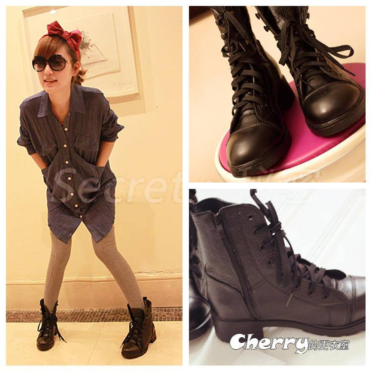 韓版繫帶英倫短靴馬丁靴機車靴騎士靴粗跟靴子