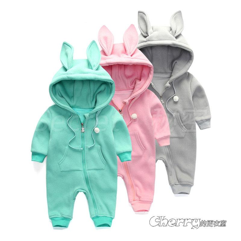 純棉嬰兒男女寶寶抓絨加厚連體衣兔裝衛衣新生兒可愛外出兔耳朵連身裝