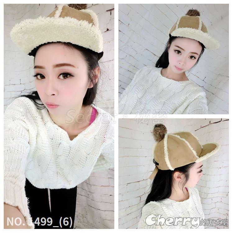 韓版加厚鴨舌帽帽子兔毛球保暖平沿帽麂皮絨騎士帽子