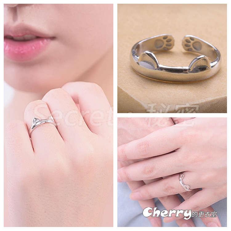 日韓925銀可愛貓咪貓耳戒開口戒戒指食指戒尾戒個性原創禮物創意銀飾