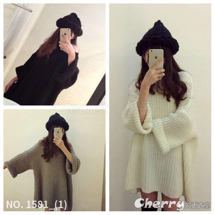 韓國甜美馬海毛蝙蝠袖中長款寬鬆連身裙粗針織毛衣