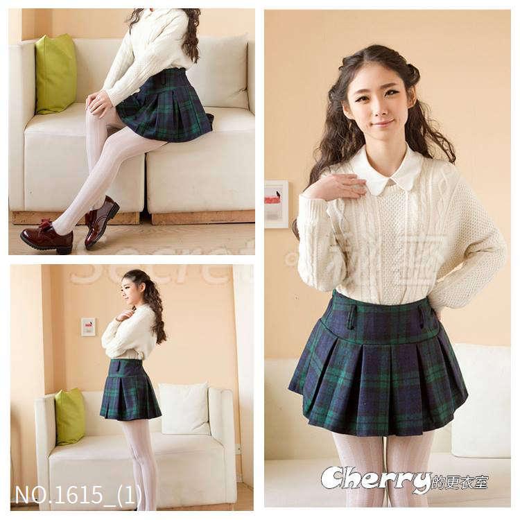 韓版學院風百褶裙格子裙a字裙半身裙有內襯毛呢短裙
