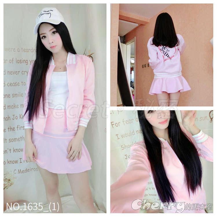 日系甜美太空棉印花夾克套裝棒球外套百褶裙A字裙短裙兩件套