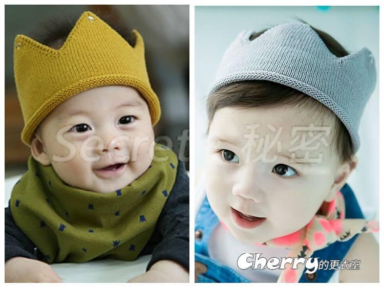 寶寶針織嬰兒皇冠髮帶帽子髮箍髮飾頭飾配飾