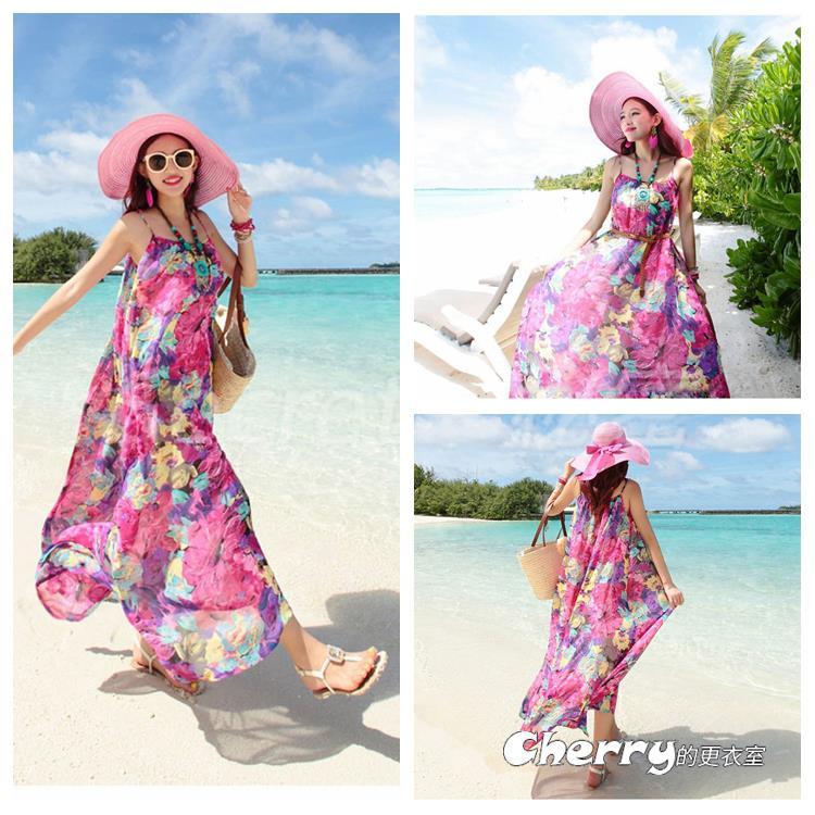 波西米亞風雪紡沙灘裙吊帶連身裙細肩帶長裙