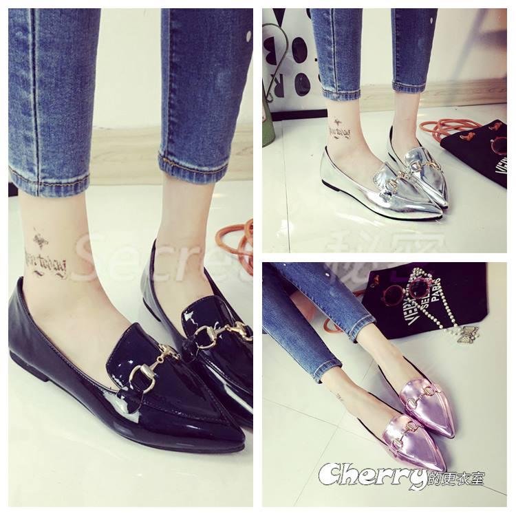 韓版平底跟鞋尖頭鞋淺口休閒鞋工作鞋豆豆鞋