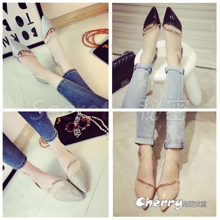 韓版淺口平底腳豆豆鞋鏤空平跟鞋尖頭鞋