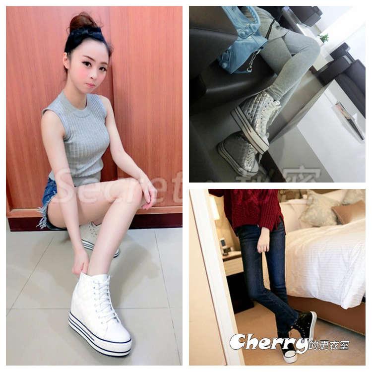 菱格紋 內增高厚底鞋/板鞋坡跟鞋休閒鞋/鬆糕鞋
