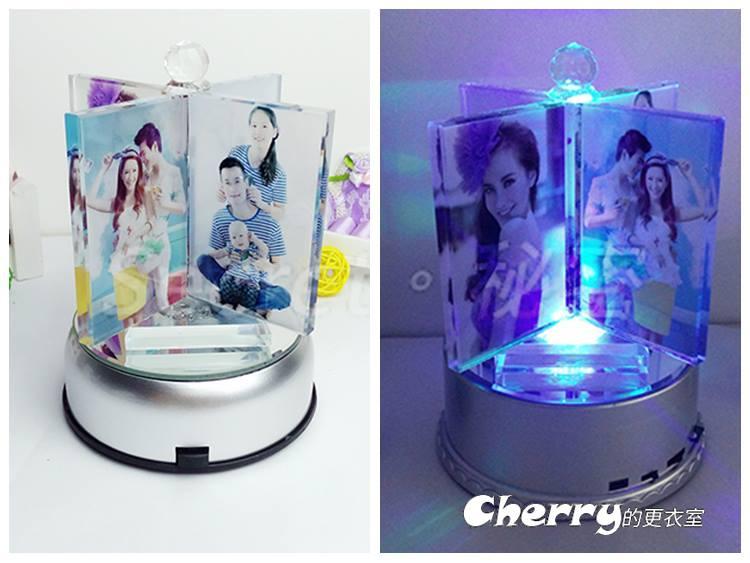 水晶風車擺飾+MP3七彩LED旋轉台音樂盒 生日結婚情人節聖誕禮物品 客製化個性化訂製做