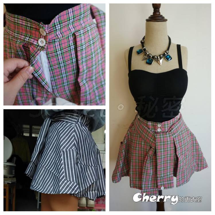 高腰假兩件綁帶半身裙褲格子褲裙