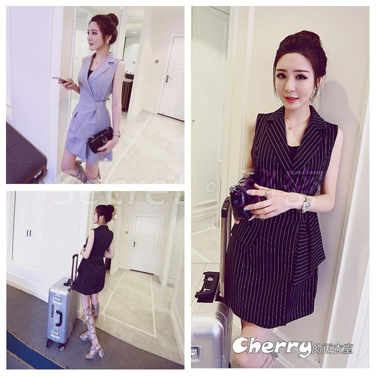韓版西裝領直條紋馬甲繫帶A字裙連身裙