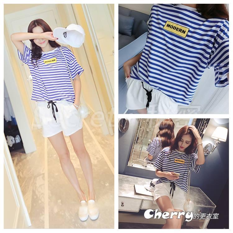 水手風圓領藍白條紋短袖打底衫T恤