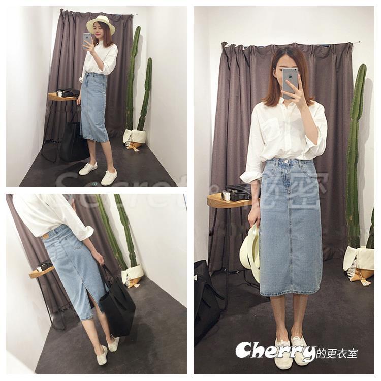 韓版復古高腰做舊長裙半身裙水洗牛仔裙