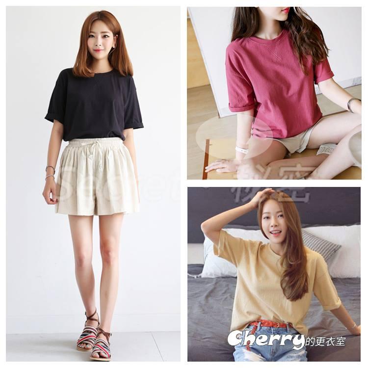 韓版寬鬆大碼圓領繡花短版上衣打底衫T恤