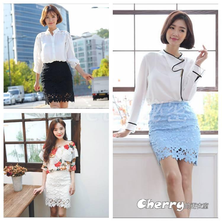 韓版鏤空刺繡蕾絲花朵高腰A字裙半身裙一步裙短裙包臀裙