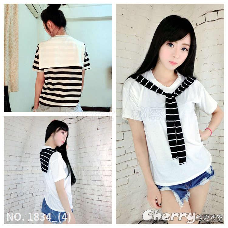 韓版休閒風圓領條紋拼接短袖T恤