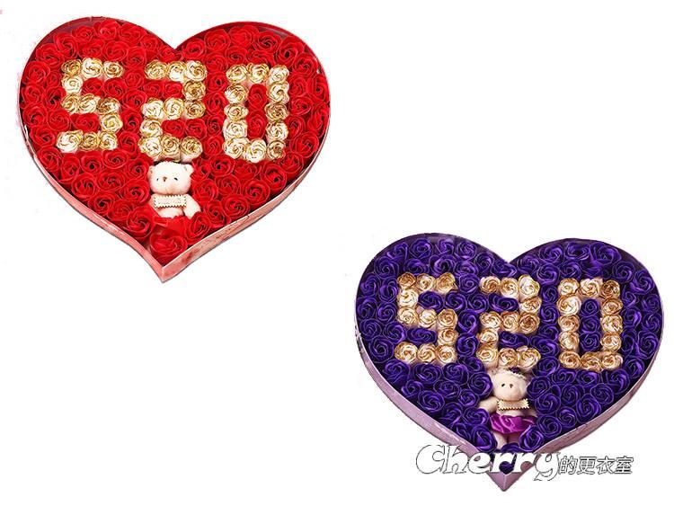 520心型愛心小熊玫瑰香皂花束/肥皂花禮盒 情人節/生日禮物/閨蜜/聖誕節/結婚/訂婚/求婚/創意禮品