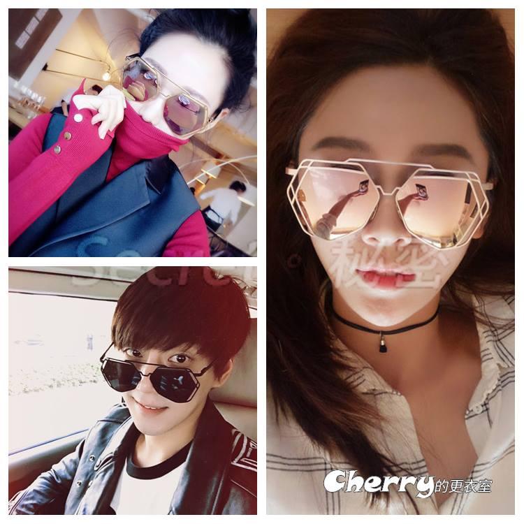 韓版不規則金屬多邊形鏤空太陽眼鏡偏光墨鏡