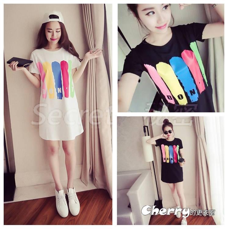 韓版圓領字母印花短袖中長款T恤連身裙
