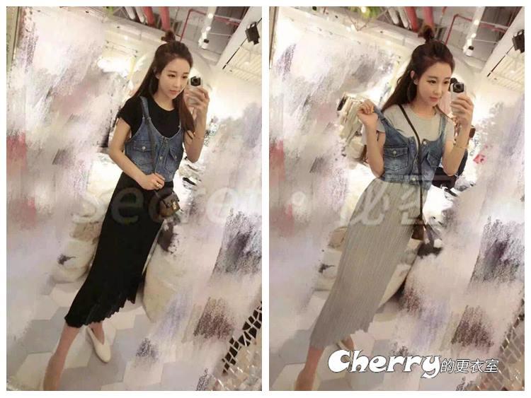 韓版上衣牛仔馬甲壓褶連身裙兩件套裝裙
