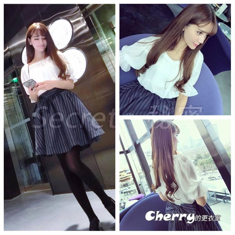 韓版一字領露肩泡泡袖後背蝴蝶結五分袖條紋裙兩件套裝