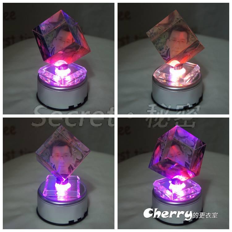 水晶旋轉魔方立方體   七彩 mp3 轉台 相片寵物寶貝照片製作訂制 生日結婚情人聖誕節禮物