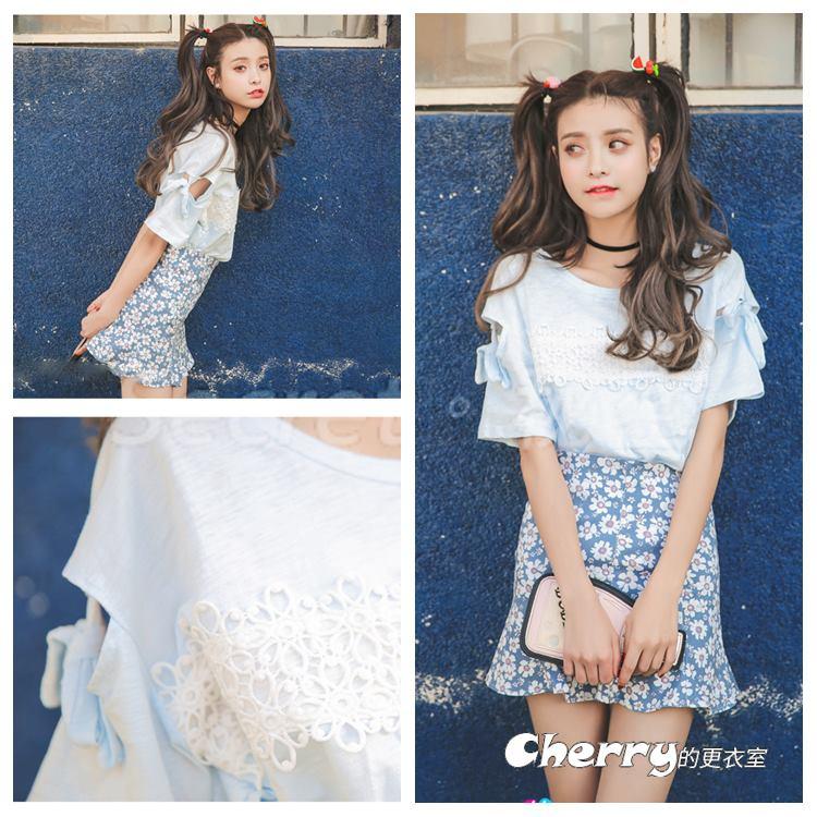 圓領蝴蝶結拼接短袖綁帶花邊蕾絲胸飾打底衫T恤