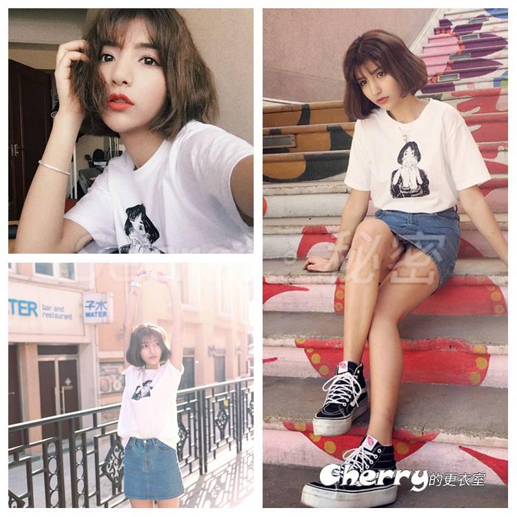 韓版圓領人物印花素描短袖打底衫棉T恤