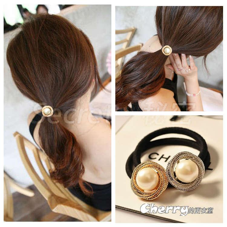韓版珍珠髮飾髮圈皮筋紮頭髮彈力繩髮繩