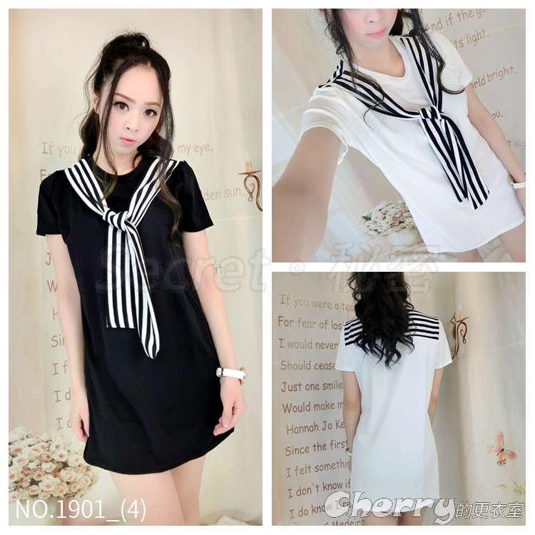 韓版學院風圓領短袖條紋假兩件拼接連身裙