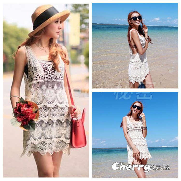 鏤空鈎花背心裙海邊溫泉沙灘比基尼罩衫連身裙