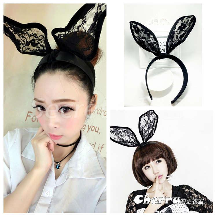 打鐵飾品兔耳朵兔女郎頭飾蕾絲化妝舞會PARTY表演走秀髮飾髮箍