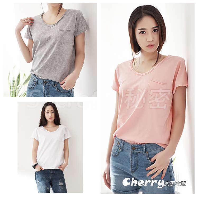 大碼寬鬆純棉V領短袖口袋T恤